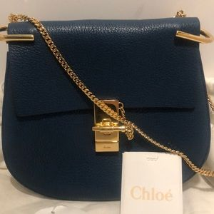Authentic Chloé Small Drew Shoulder Bag in Blue